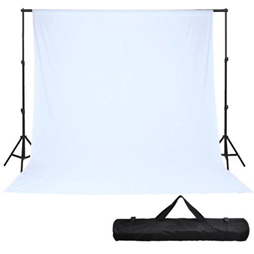 10' Telescopic Support Stand Muslin Backdrop White Photo Background 20' X 10' by AW