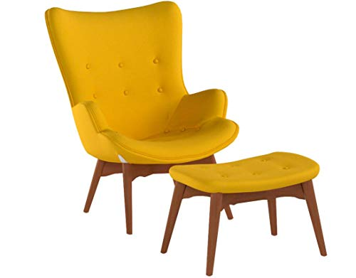 Christopher Knight Home 297012 Acantha Mid Century Modern Retro Contour Chair with Footstool, Muted Yellow