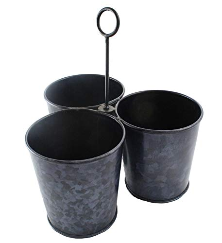 Galvanized 3 Metal Bucket Caddy Planter Farmhouse Rustic Style, Center Hanger Garden Beverage Container Utensil Organizer by Well Pack Box (Caddy Galvanized Utensil)