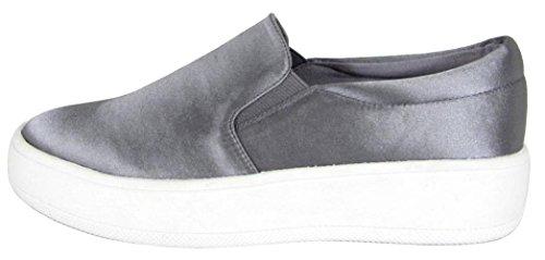 Soda Womens Stängt Rund Tå Slip-on Plattform Flatform Mode Sneaker Tenn Satin