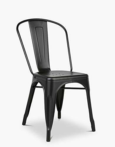 CASA FERRO Silla Negra Tolix Vintage Retro. ¡Silla de diseño, cómoda ...