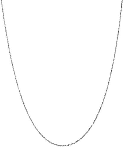 Lite Baby Rope Chain (ICE CARATS 10k White Gold .8mm Lite Baby Link Rope Chain Necklace 14 Inch Fine Jewelry Gift Set For Women Heart)