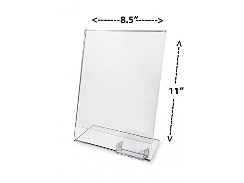 Marketing Holders Economy Sign Holder Literature Ad Flyer Frame Display Stand Clear Plastic Table Top Slant Back Sold in lots of 10 Premiere 8.5''w x 11'' h w/card slot
