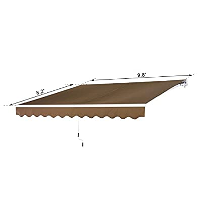 ana1store Brown 10'x8' Curl Manual Covering Coffee Polyester Fabric Tools Home Improvement Lawn Patio Furniture Accessories Canopies Gazebos Pergolas Umbrellas Shade Sails Windows Awnings : Garden & Outdoor
