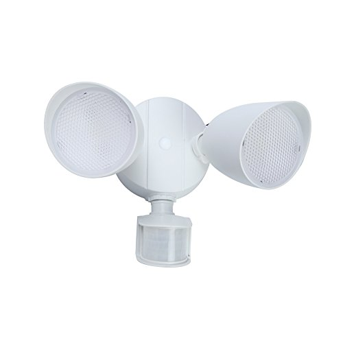 Utilitech 110-Degree 2-Head White Integrated LED Motion-Activated Flood Light with Timer