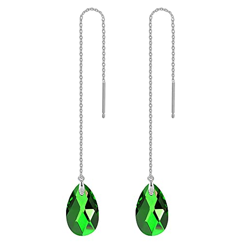 925 Sterling Silver Drop Earrings Colorful Droplet Dangle Threader Earrings for Women