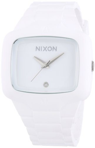 (Nixon Men's A139-100 Rubber Analog White Dial Watch)