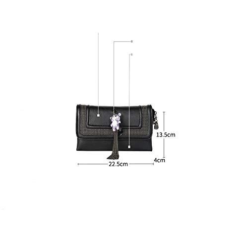black Delle Del La Modo Della Signore Sacchetto Di Signora Colore Coreana Frizione Versione Borse Nappa Solido Black Pochette rqawta1U0