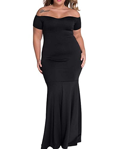[Pyramid Black Plus Size Off Shoulder Fishtail Maxi Dress Size 2Xl-3XL (2X-Plus)] (Plus Size Formal Dresses)