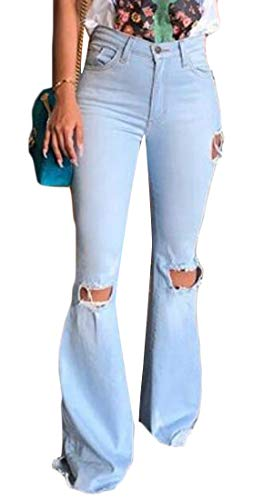 Distressed Flare Jeans - WAWAYA Women Skinny Retro Ripped Distressed High Waisted Bell Bottom Jeans Denim Pants Light Blue M