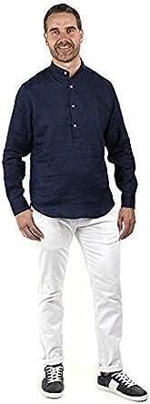 Enrique Pellejero Camisa POLERA Cuello Mao Lino Azul Marino (XXL): Amazon.es: Ropa y accesorios
