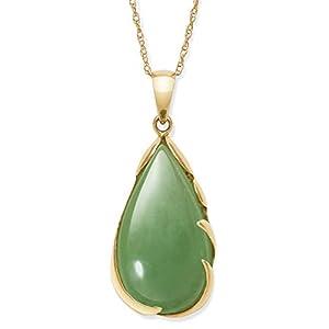 14k Gold Natural Jade Teardrop Necklace Pendant
