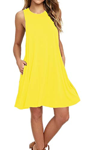 AUSELILY Women's Sleeveless Pockets Casual Swing T-Shirt Dresses (S, New Yellow)