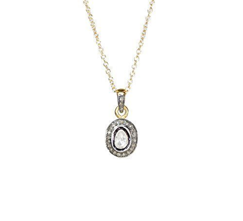 Genuine Diamond Solitaire Pendant Necklace - Real Pave Rose Cut Diamonds- April Birthstone