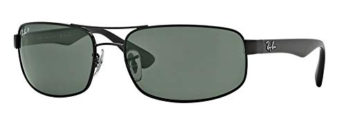 - Ray-Ban RB3445 002/58 64M Black/Dark Green Polarized Sunglasses For Men