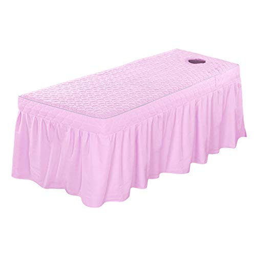 28 Inch Five Light - Flameer Beauty Face Bed Cover Massage Table Skirt Cotton Valance Sheet for Square Head Cosmetic Beds 75x28inch - Light Pink