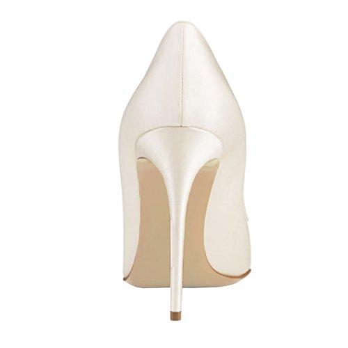 EKS - Merceditas de tacón alto Mujer Blanco - Weiß-Suede-10cm