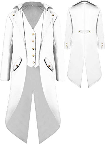 Mens Gothic Medieval Tailcoat Jacket, Steampunk Vintage Victorian Frock High Collar Coat Halloween Costumes (XXXL, White) ()
