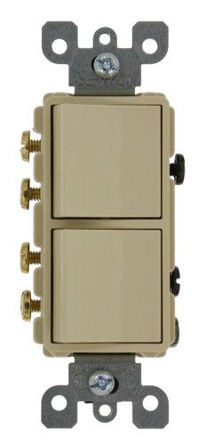 Leviton 5640-I 20 Amp, 120/277 Volt, Decora 3-Way / 3-Way AC Combination Switch, Commercial Grade, Grounding, Ivory -