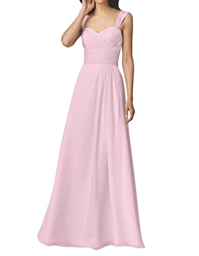 Chiffon Rosa mia Herzausschnitt Abendkleider Brautjungfernkleider mit La Langes Brau Perlen Einfach Linie A Festlichkleider Partykleider Rock tUqTWZw4