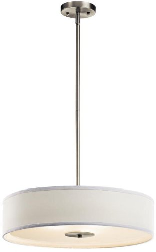 Kichler 42121NI Semi Flush Drum Pendant Lighting, Brushed Nickel 3-Light (20