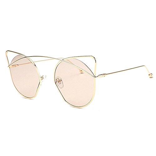 Round de Pink de Lens Gafas mujer Marrón con Ojo Metal Hueco Ear Gafas Flash de Frame mujer Cute estuche sol gato para Cat para sol OFqZd
