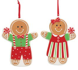 mr mrs gingerbread man christmas tree ornaments adorable holiday decor