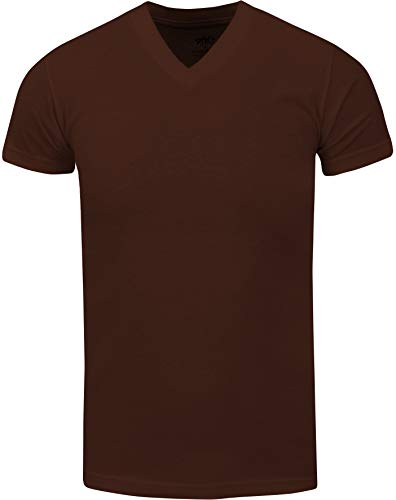 VNS04_ Active Mens Premium Cotton Heavy Weight V Neck Basic T Shirt Brown by Shaka Wear (Image #1)