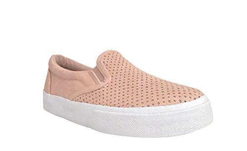 - Soda Tracer 2 Kids Girls Perforated Platform Slip On Skater Fashion Sneakers, Pink Nubuck Leatherette 10 Toddler