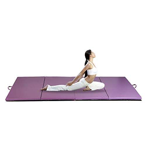 """Wonlink Gymnastic Mat Durable Folding Gymnastic Mat Tumbling Exercise Yoga Fitness PU Leather for Kids Ladies (purple 4 fold, 4'x6'x2"""")"""