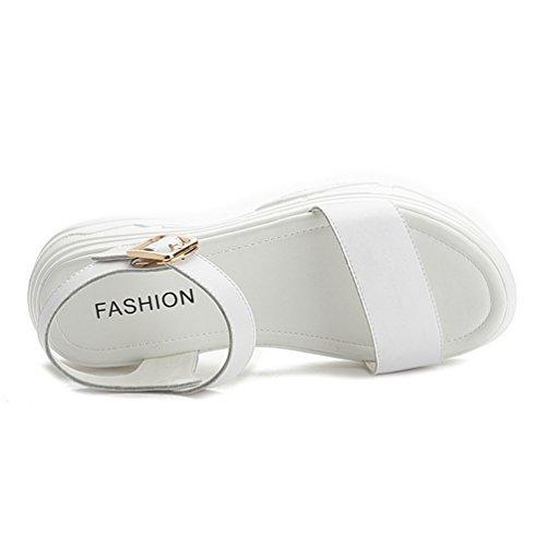 Loisir Tongs 39 Chaussures Marche Femme Talon 34 De Blanc Plateforme Sandales Sports Confortable gWftnq8