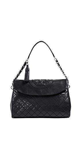 Burch Tory Fleming Women's Black Over Distressed Fold Leather Hobo qT7SdTFwO