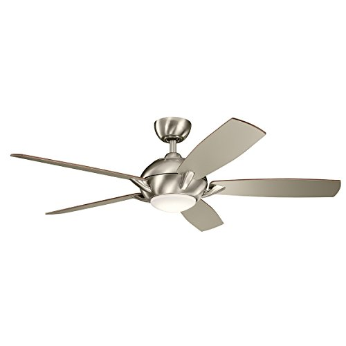 Indoor Ceiling Fans 1 Light with Brushed Stainless Steel Finish Steel LED 54 inch 17 Watts