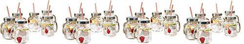 Estilo Mason Jar Mugs with Handle and Straws Old Fashioned Drinking Glass Set 6, 16 oz Each (4-(Pack))