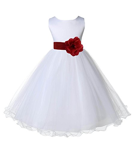 Wedding Pageant White Flower Girl Rattail Edge Tulle Dress 829s 6