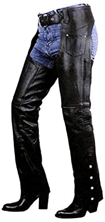 Xelement B7703 Women's Black Plain Low Cut Premium Leather Riding Chaps - Black / 24