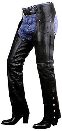 Xelement B7703 Women's Black Plain Low Cut Premium Leather Riding Chaps - Black / 24
