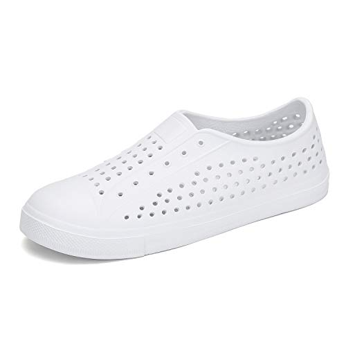 Kid White Shoe Sneaker - SAGUARO Boys Girls Kids Water Shoes Slip On Breathable Garden Clogs Outdoor Beach Sandals Sneaker White 13 Little Kid