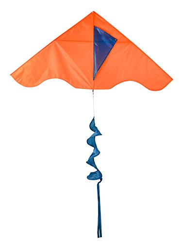 In the Breeze Colorblock Delta Kite with Twister Tail - Single Line Kite - 55-Inch, Neon Orange & Teal