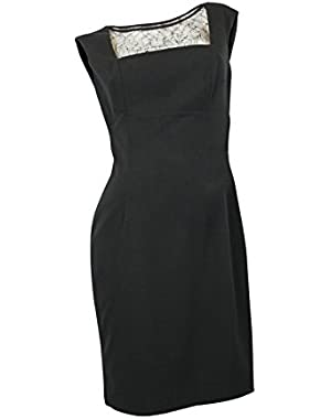 Calvin Klein Women's Illusion Lace Contrast Sheath Dress