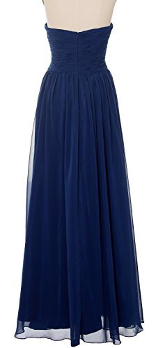 MACloth Women Strapless Long Prom Dress Classic Chiffon Formal Evening Gown Gold