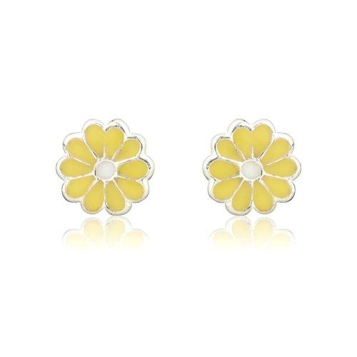 Boucles d'oreilles/ clous d'oreilles en argent fin Pâquerette jaune