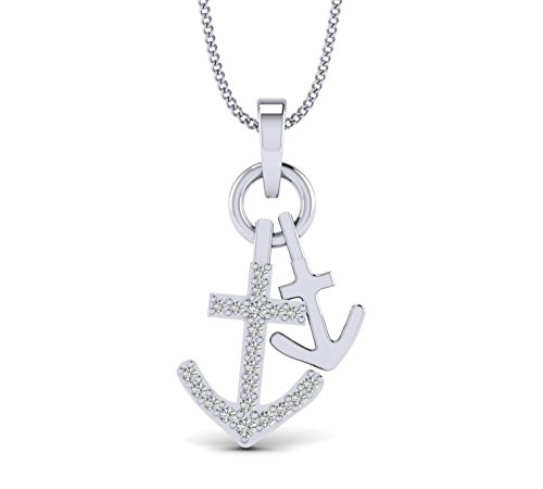 Fehu Jewel 0.11cts Natural Diamond Gold Over Sterling Silver Anchor Diamond Pendant for Her (White-Gold-Plated-Silver)