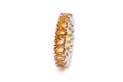 Albert Hern 5.7ct Natural Orange Sapphire Eternity Ring 14kt White Gold Band for Women Size 6 | Ideal for Weddings, Engagement, Bridal Set, Valentine's Day, Anniversary & Birthday Gift