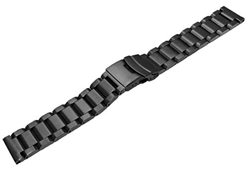 24mm Black Matte Wrist Bracelet Top Grain Stainless Steel Replacement Watch Band with Double Locks by SINAIKE (Image #2)