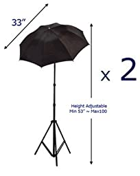 StudioFX Photo Studio Lighting Light kit & Stand / (3) 10\' x 10\' Muslin Green, White, Black / (2) Black-Silver Umbrella Reflector 33\