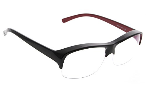 Computer Fit over Glasses with Clear Lens,Black Red by BLUELESS