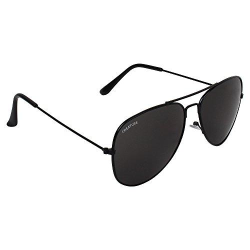 CREATURE Basic Black Aviator Uv-Protected Unisex Sunglasses(Lens-Jet-Black||Frame-Black||SUN-004)