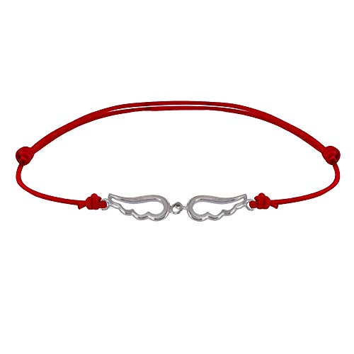 Les Poulettes Jewels - Sterling Silver Link Bracelet Two Small Angel Wings Pierced - Red