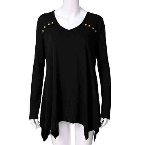 Sexy Casual Manches Longues Mode Tops Patchwork Grande T Chic Shirt Blouse Couleur Unie Chemisier Noir Taille Femme dwHzId
